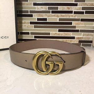 Gucci Rose Pink Leather Logo GG 1.5""